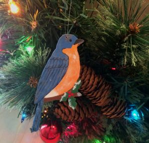 christmas, christmas ornament, ornament, blue bird, bird, holly branch