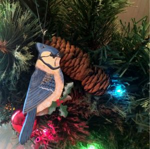 christmas, christmas ornament, ornament, bird, blue jay, holly branch