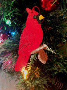 cardinal, bird, pine cone, christmas, christmas ornament, ornament