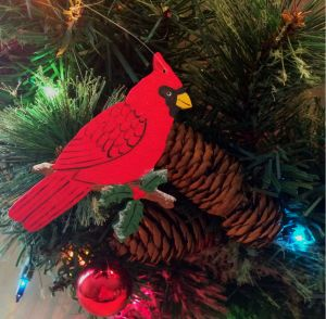 christmas, christmas ornament, ornament, cardinal, bird, holly branch