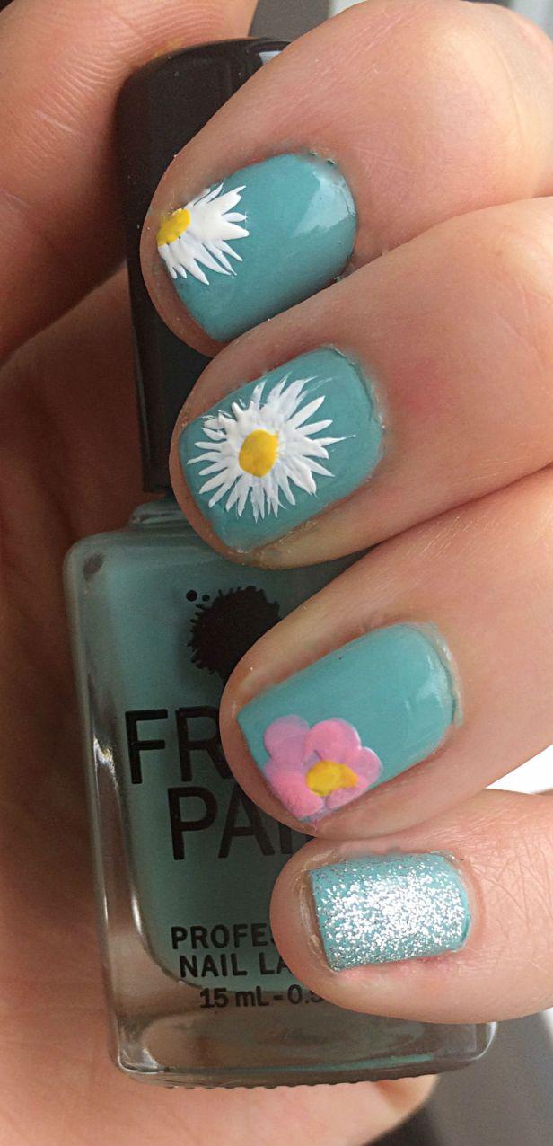White Flower Blue Nails