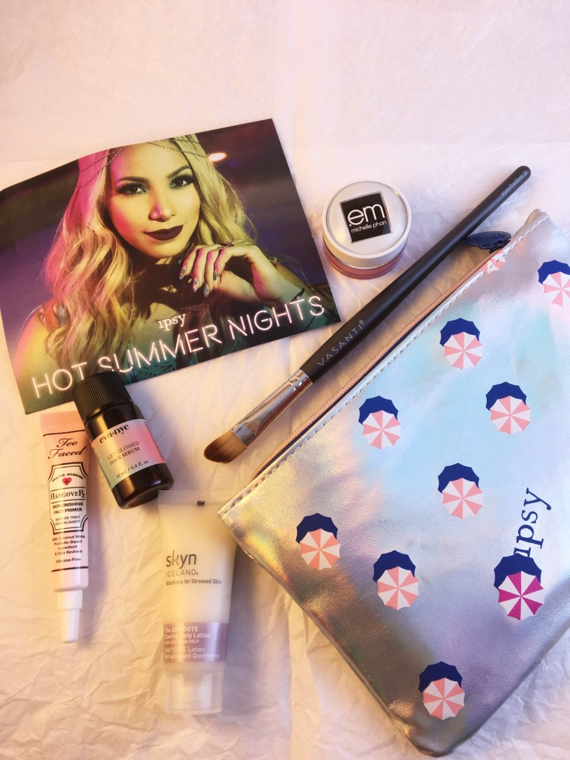 Ipsy glam bag, july ipsy bag, makeup review, vasanti, skyn, too faced, em cosmetics, ipsy, review, eva nyc