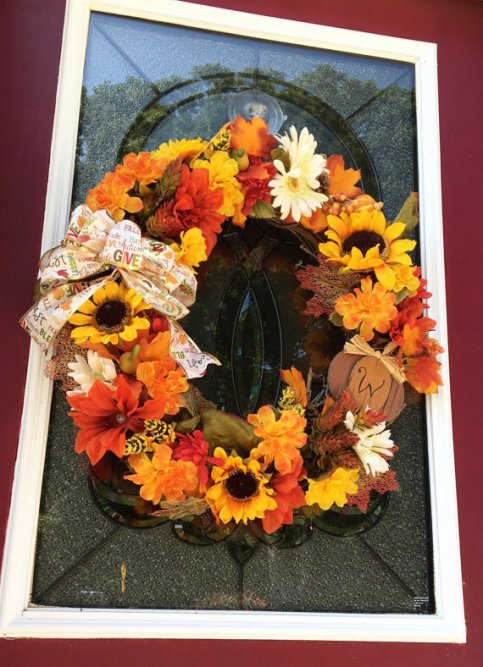 fall decor, fall wreath, fall, fall leaves, fall scarecrow, fall wreath decor, fall front door, monorgrammed wreath, monogrammed wreath decor, fall ribbon, fall flowers, grapevine wreath