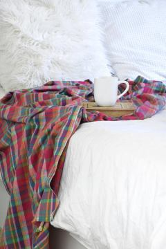 Plaid afghan, plaid throw blanket, fall blanket, pink plaid blanket, plaid throw, infinity scarf blanket, infinity blanket, afghan scarf, fall finds