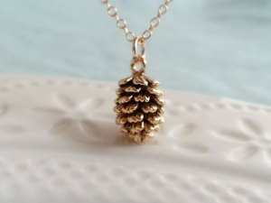 Gold Pinecone Necklace. Gold Filled Necklace. Small Pinecone Charm. Fall Jewelry. Layering Layered Necklace. Dainty Delicate