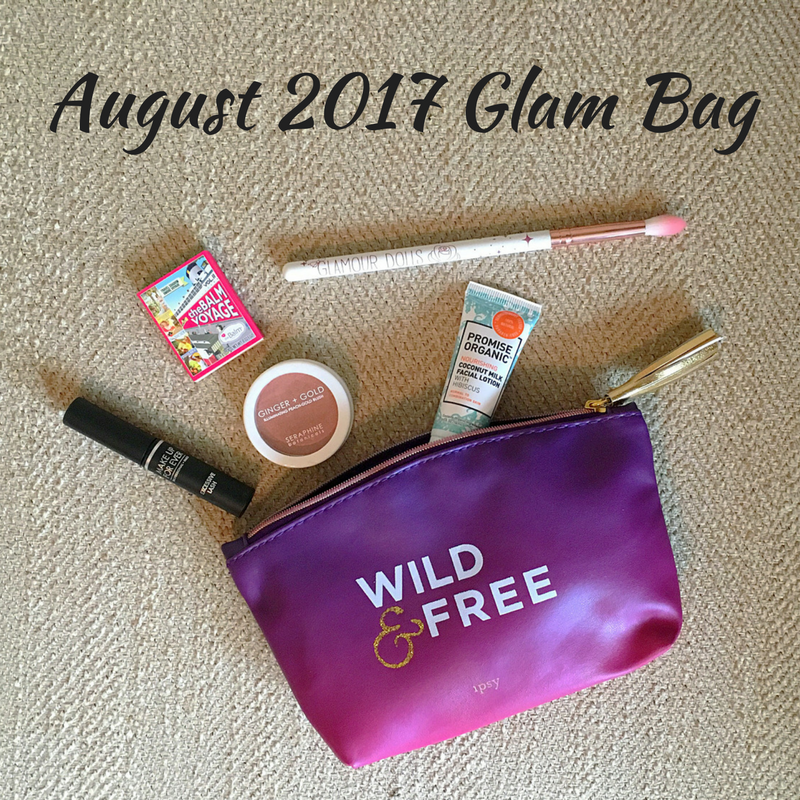 Ipsy glam bag, august glam bag, thebalm cosmetics, thebalm voyage, thebalm voyage eyeshadow, romantic rose, blending brush, romantic rose blending blush, nourishing coconut milk face lotion, face lotion, coconut milk lotion, excessive lash mascara, arresting volume mascara, ginger and gold blush, ginger and gold, wild and free, wild and free glam bag, seraphine botanicals, seraphine botanicals blush, glamour dolls, glamour dolls blending brush, glamour dolls brush, wilkommen, thebalm cosmetics, thebalm, promise organic, promise organic face lotion, coconut face lotion, makeup for ever, makeup for ever mascara