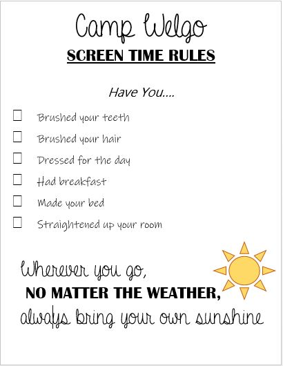 Camp Welgo Screen Time Rules